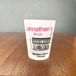 """New """"Johnathan's Bar"""" Florida Frosted Shot Glass"""